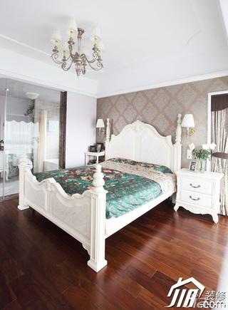 三米设计简欧风格公寓经济型120平米卧室壁纸效果图