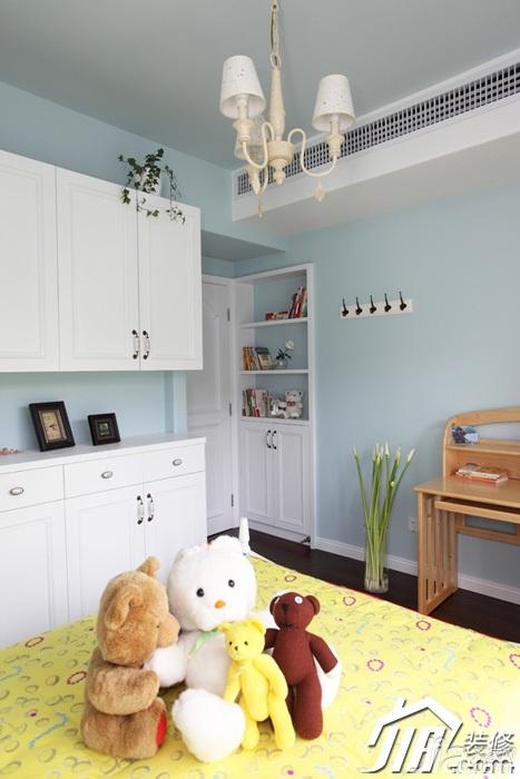 三米设计简欧风格公寓蓝色经济型120平米儿童房衣柜定制