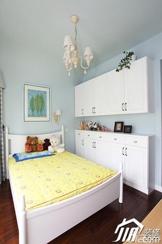三米设计简欧风格公寓蓝色经济型120平米儿童房床效果图