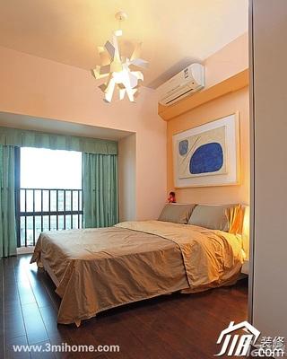 三米设计简约风格复式富裕型卧室卧室背景墙床效果图