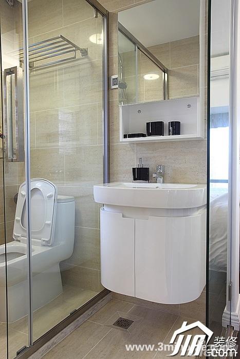 三米设计简约风格复式富裕型卫生间洗手台效果图
