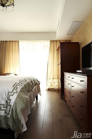 简欧风格复式古典原木色富裕型140平米以上卧室窗帘效果图