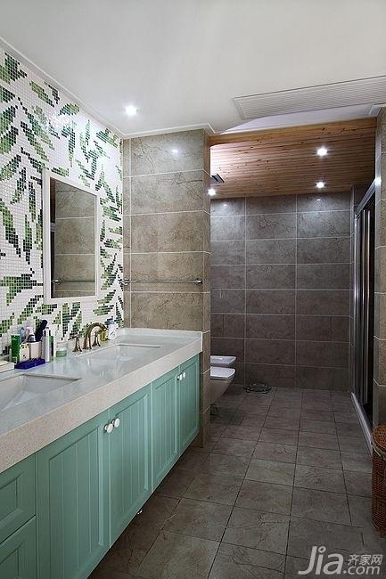 简欧风格复式古典原木色富裕型140平米以上卫生间浴室柜效果图