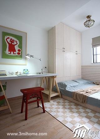 三米设计简约风格跃层富裕型卧室地台衣柜安装图