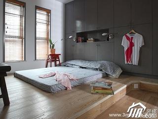 三米设计简约风格跃层富裕型卧室地台衣柜订做