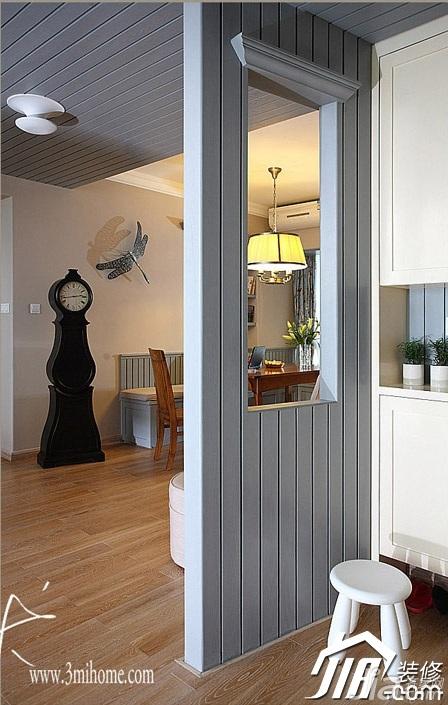 三米设计美式风格富裕型130平米玄关隔断玄关柜效果图