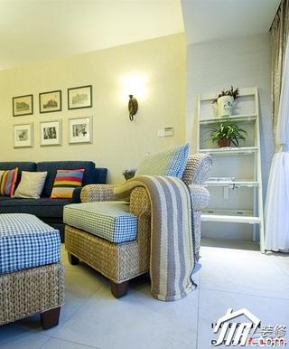 四房小清新暖色调富裕型140平米以上客厅沙发效果图