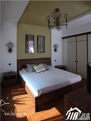三米设计中式风格别墅富裕型卧室背景墙床效果图