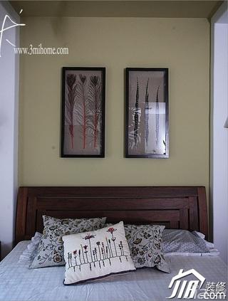 三米设计中式风格别墅富裕型卧室卧室背景墙床效果图