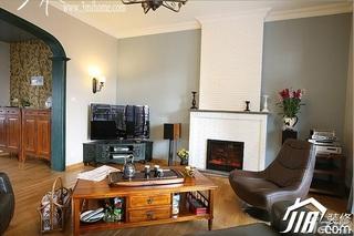 三米设计美式乡村风格跃层富裕型客厅茶几效果图