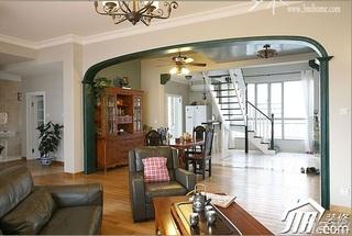 三米设计美式乡村风格跃层富裕型客厅沙发图片