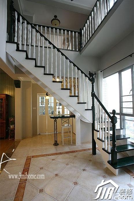 三米设计美式乡村风格跃层富裕型楼梯设计图纸图片
