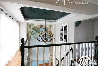 三米设计美式乡村风格跃层富裕型楼梯设计