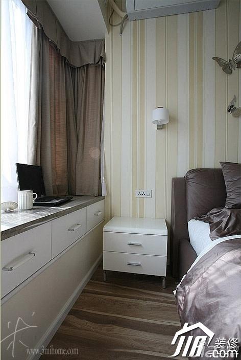 三米设计简约风格公寓经济型120平米卧室飘窗壁纸效果图