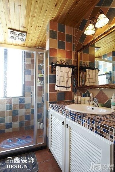 地中海风格三居室暖色调130平米卫生间浴室柜效果图
