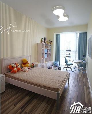 三米设计简约风格公寓经济型130平米卧室卧室背景墙壁纸效果图