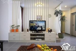 三米设计简约风格公寓经济型130平米客厅隔断电视柜效果图