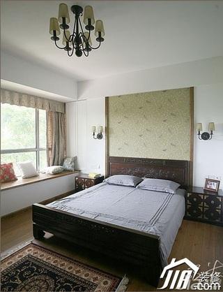 三米设计中式风格公寓富裕型130平米卧室卧室背景墙床效果图