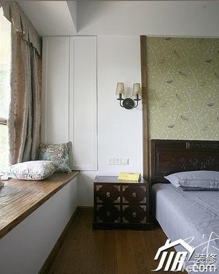 三米设计中式风格公寓富裕型130平米卧室卧室背景墙床头柜效果图