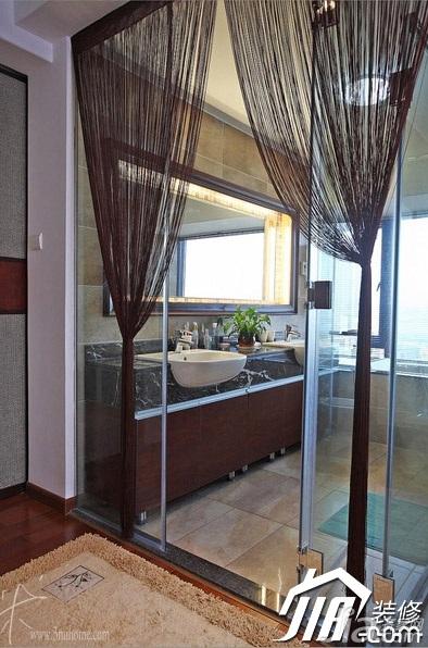 三米设计中式风格公寓富裕型130平米卫生间窗帘效果图