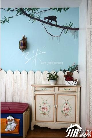 三米设计东南亚风格三居室可爱富裕型儿童房卧室背景墙床头柜效果图