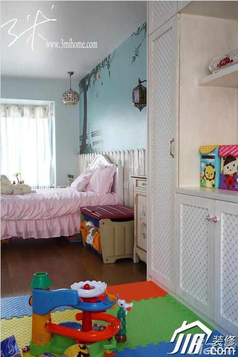 三米设计东南亚风格三居室可爱富裕型儿童房卧室背景墙衣柜设计