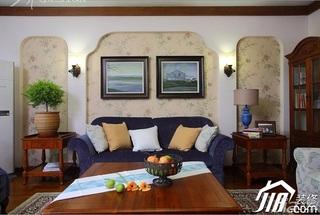 三米设计美式乡村风格富裕型120平米客厅沙发背景墙茶几效果图