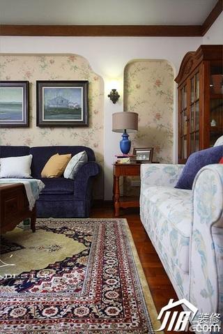 三米设计美式乡村风格富裕型120平米客厅沙发背景墙沙发效果图