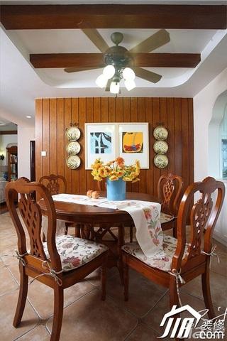 三米设计美式乡村风格富裕型120平米餐厅餐厅背景墙餐桌效果图