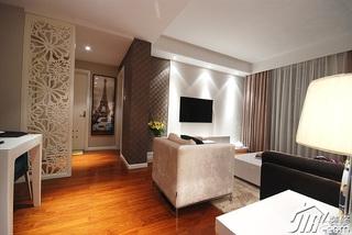 简约风格二居室富裕型客厅窗帘效果图