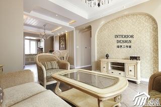 美式乡村风格时尚米色富裕型110平米客厅电视背景墙茶几效果图