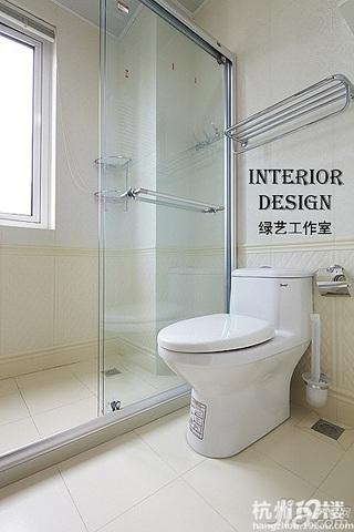 美式乡村风格时尚米色富裕型110平米卫生间效果图