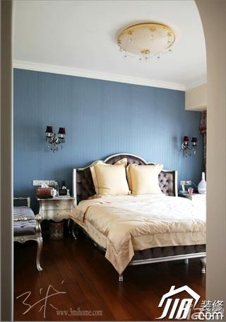 三米设计欧式风格公寓蓝色富裕型120平米卧室卧室背景墙床效果图