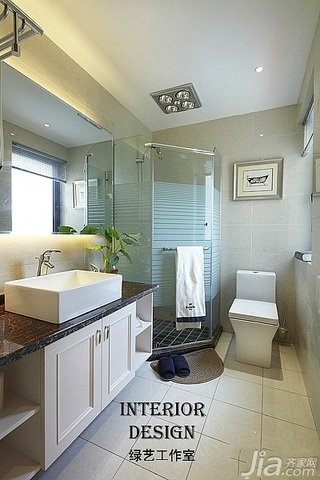 别墅古典米色豪华型140平米以上卫生间浴室柜效果图
