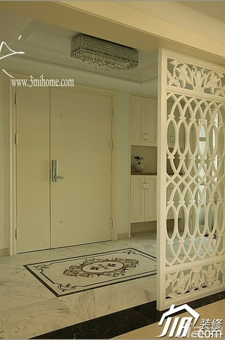 三米设计简欧风格四房白色20万以上门厅隔断装修图片