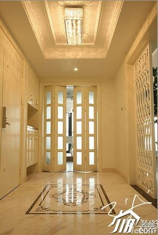 三米设计简欧风格四房20万以上门厅隔断鞋柜效果图