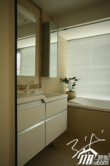 三米设计简欧风格四房20万以上卫生间浴室柜效果图
