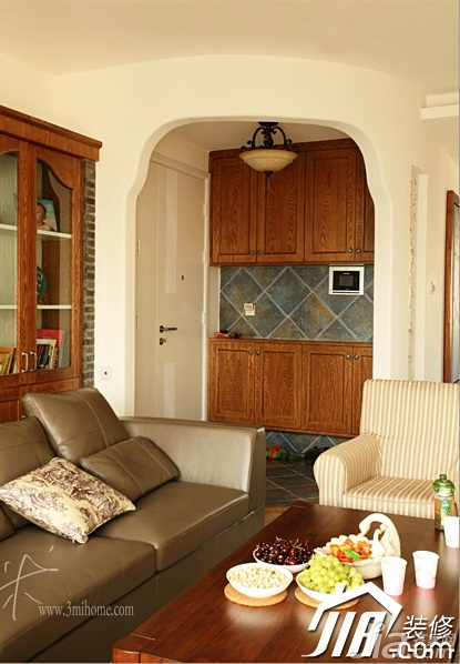 三米设计美式乡村风格三居室富裕型门厅隔断鞋柜效果图高清图片
