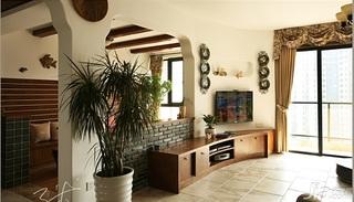 三米设计美式乡村风格三居室富裕型客厅窗帘效果图