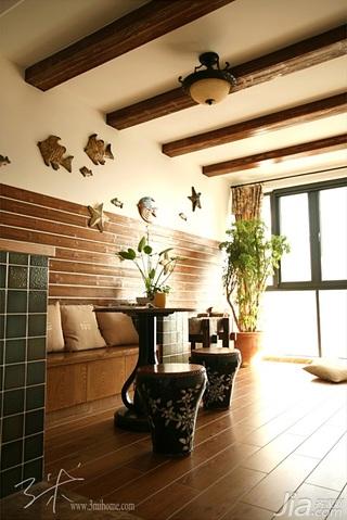 三米设计美式乡村风格三居室富裕型阳台吊顶效果图