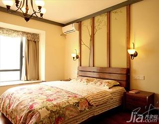 三米设计美式乡村风格三居室富裕型卧室卧室背景墙床头柜效果图