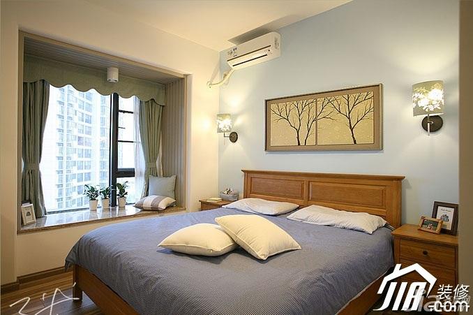 三米设计美式风格公寓富裕型120平米卧室飘窗窗帘效果图图片