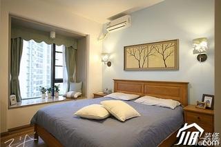 三米设计美式风格公寓富裕型120平米卧室飘窗窗帘效果图