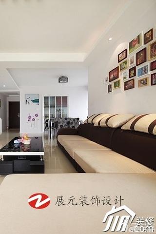 简约风格别墅温馨暖色调富裕型140平米以上客厅沙发背景墙茶几效果图