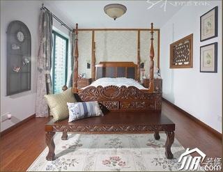 三米设计中式风格公寓经济型130平米卧室卧室背景墙床效果图