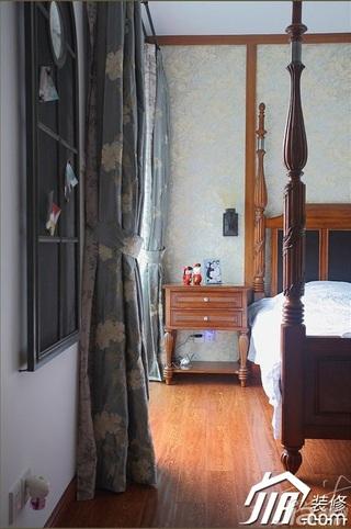 三米设计中式风格公寓经济型130平米卧室卧室背景墙床头柜效果图