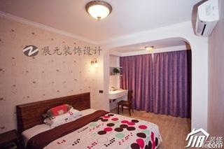 美式乡村风格小户型温馨暖色调富裕型卧室床效果图