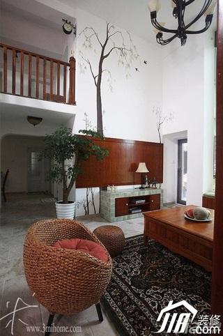 三米设计东南亚风格复式富裕型客厅茶几图片