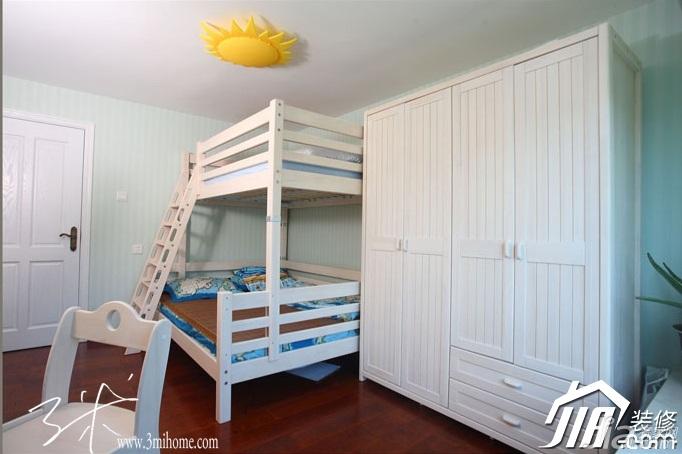三米设计东南亚风格复式富裕型儿童房衣柜图片