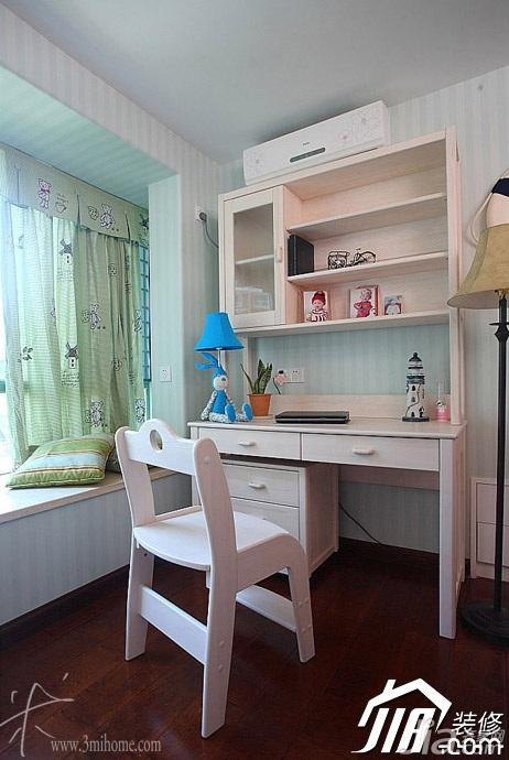 三米设计东南亚风格复式富裕型儿童房飘窗书桌效果图